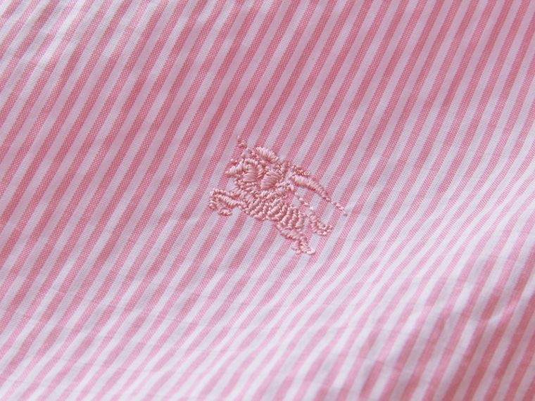 Short-sleeve Striped Cotton Seersucker Shirt in Pale Pink - Men | Burberry - cell image 1