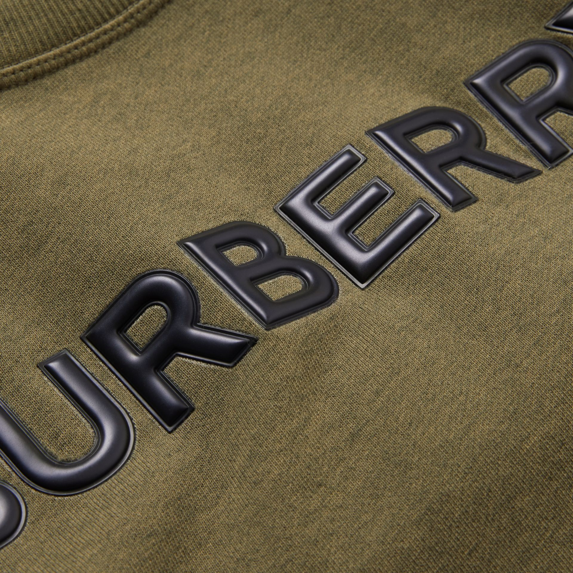 Logo Detail Cotton Sweatshirt in Military Olive | Burberry Australia - gallery image 1