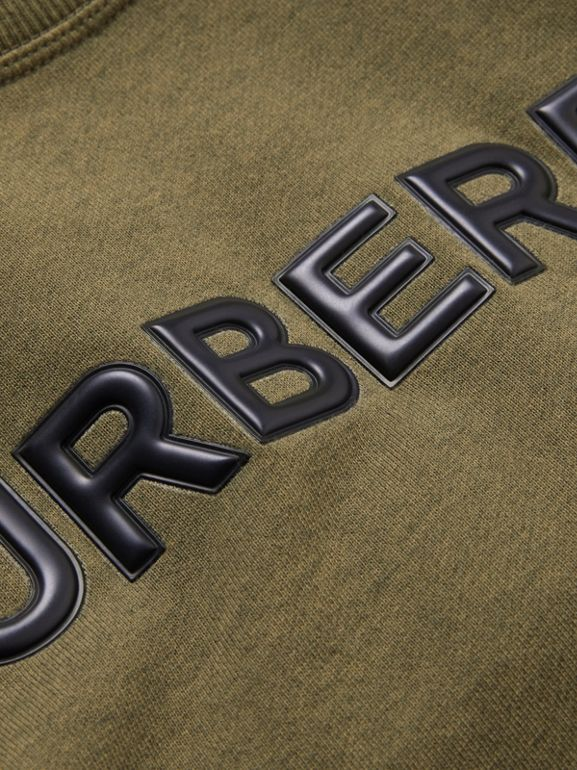 Logo Detail Cotton Sweatshirt in Military Olive | Burberry - cell image 1