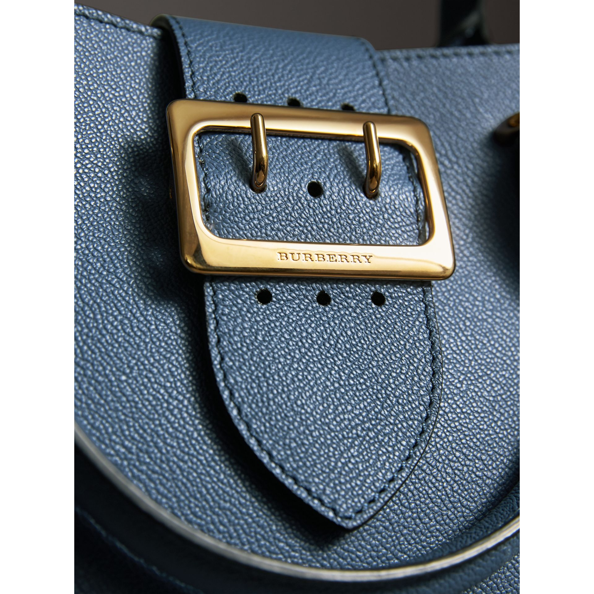 The Small Buckle Tote in Grainy Leather in Steel Blue - Women | Burberry - gallery image 2