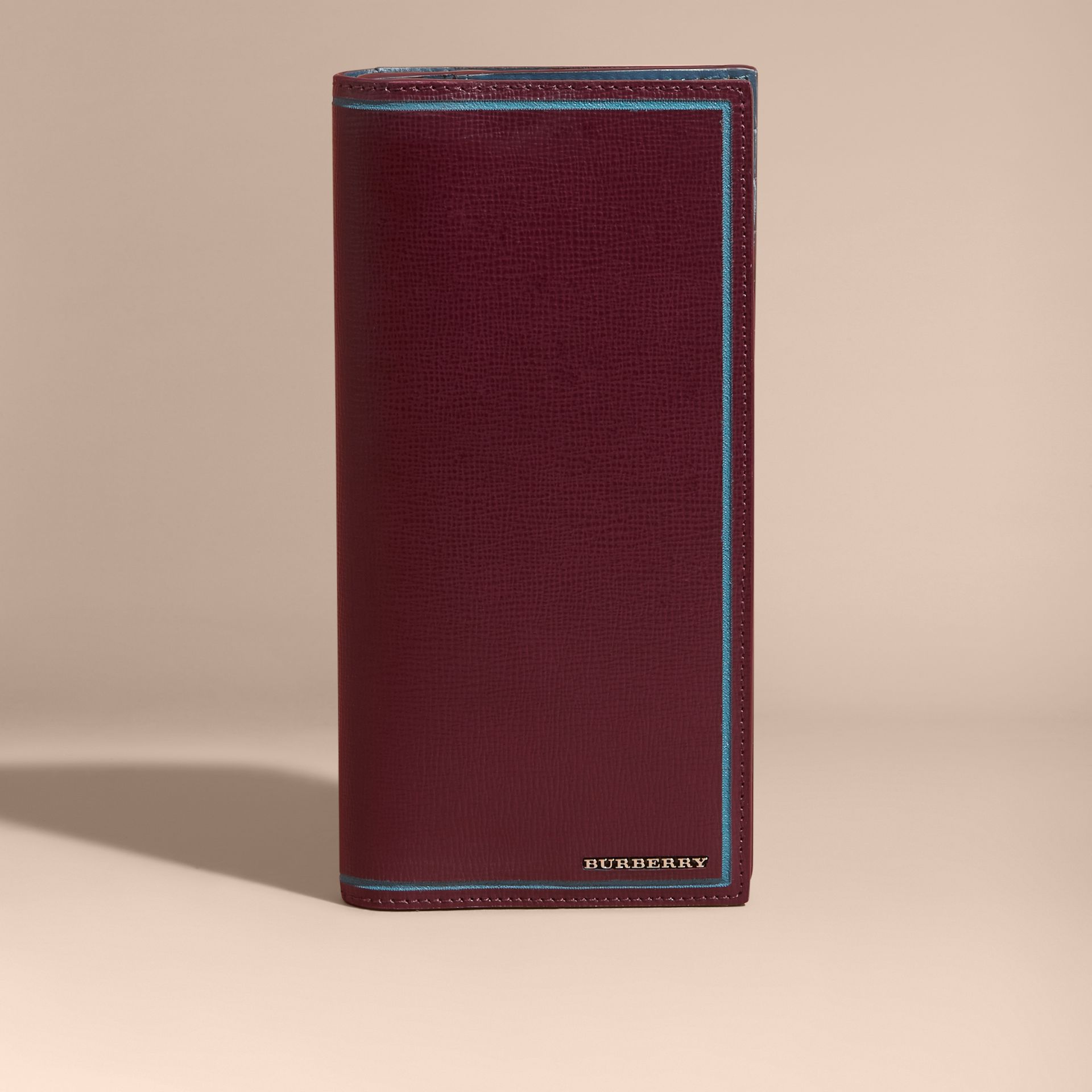 Border Detail London Leather Continental Wallet in Burgundy Red - gallery image 7