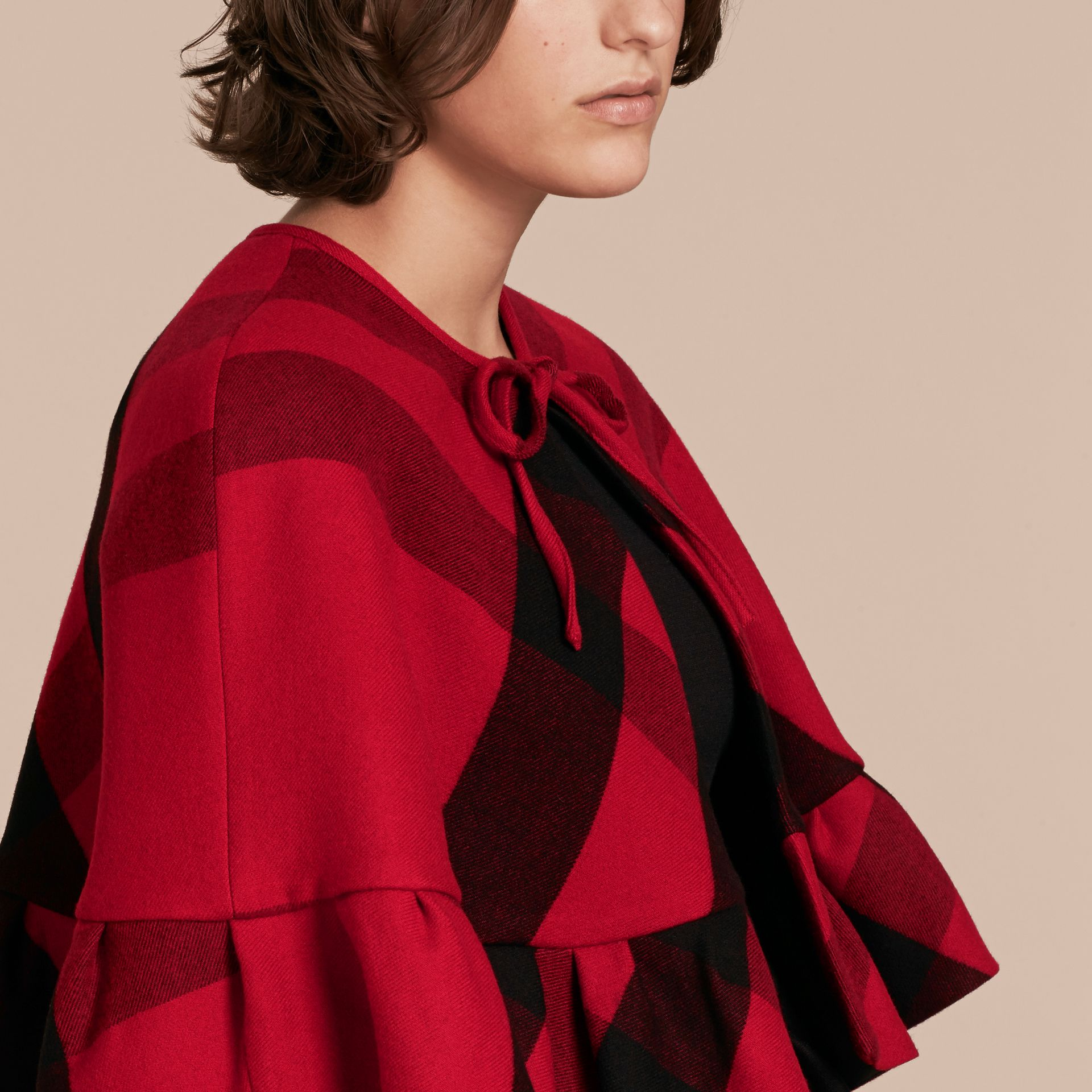 Ruffled Hem Check Wool Cape in Parade Red - gallery image 5