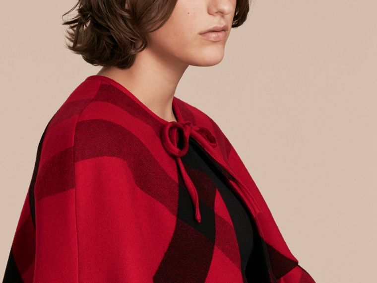 Ruffled Hem Check Wool Cape in Parade Red - cell image 4