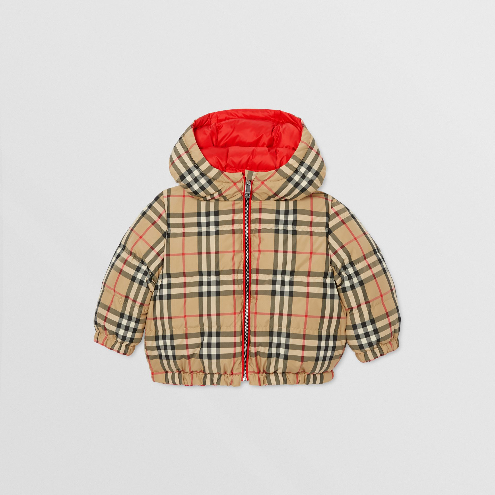 Reversible Vintage Check Down-filled Puffer Jacket in Bright Red - Children | Burberry - gallery image 4