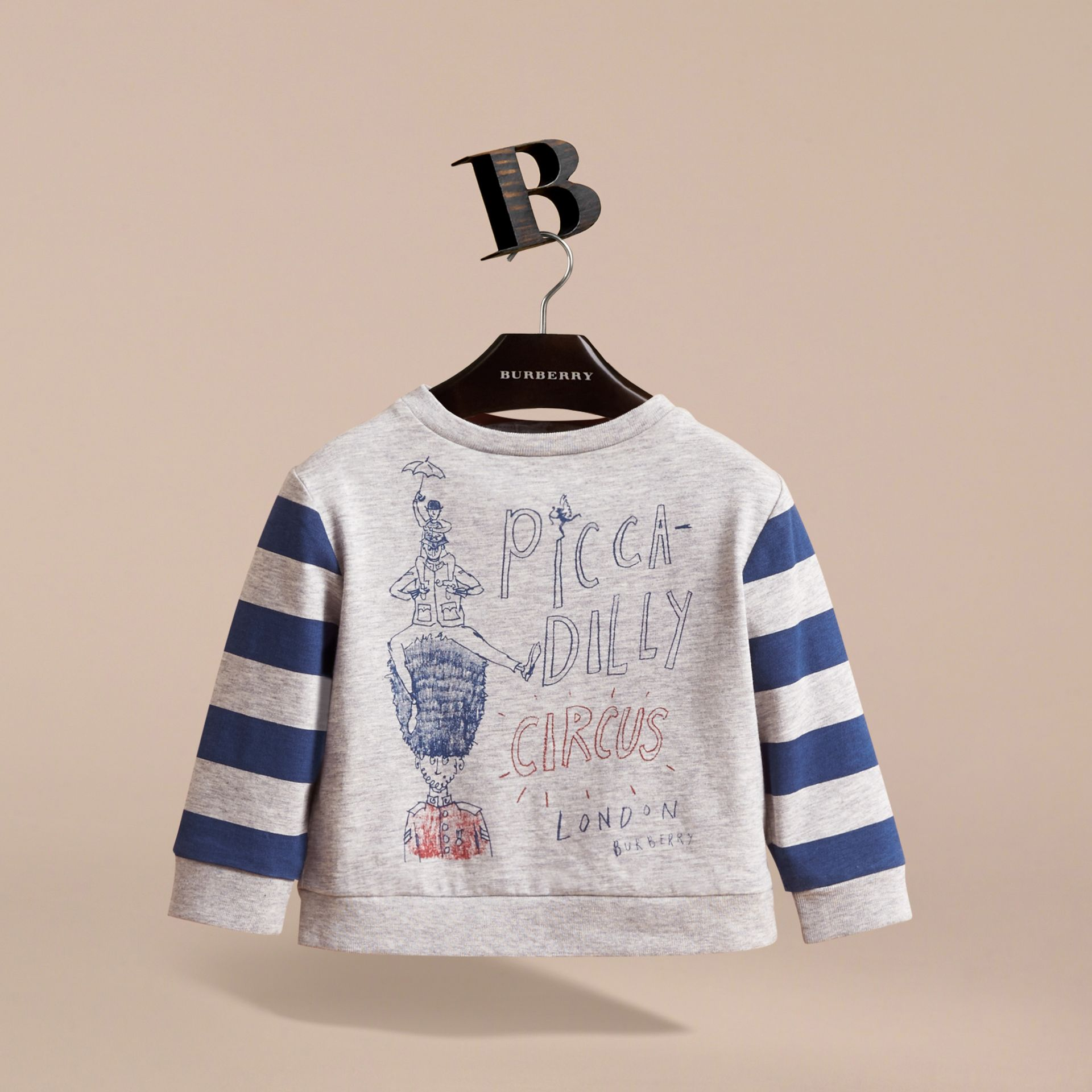 Long-sleeve London Icons Print Cotton T-shirt in Bright Navy Blue | Burberry - gallery image 2