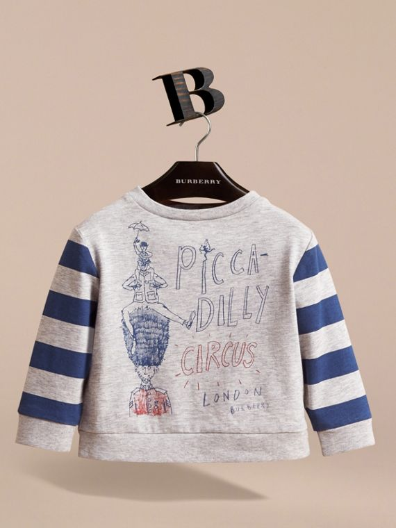 Long-sleeve London Icons Print Cotton T-shirt in Bright Navy Blue | Burberry - cell image 2
