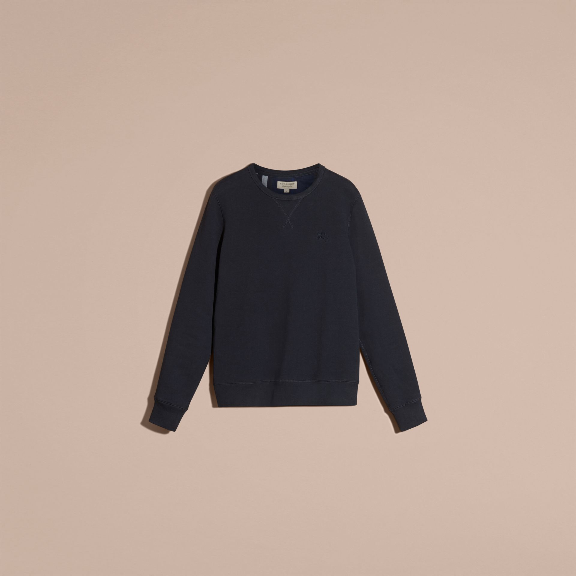 Navy Cotton Blend Jersey Sweatshirt Navy - gallery image 4