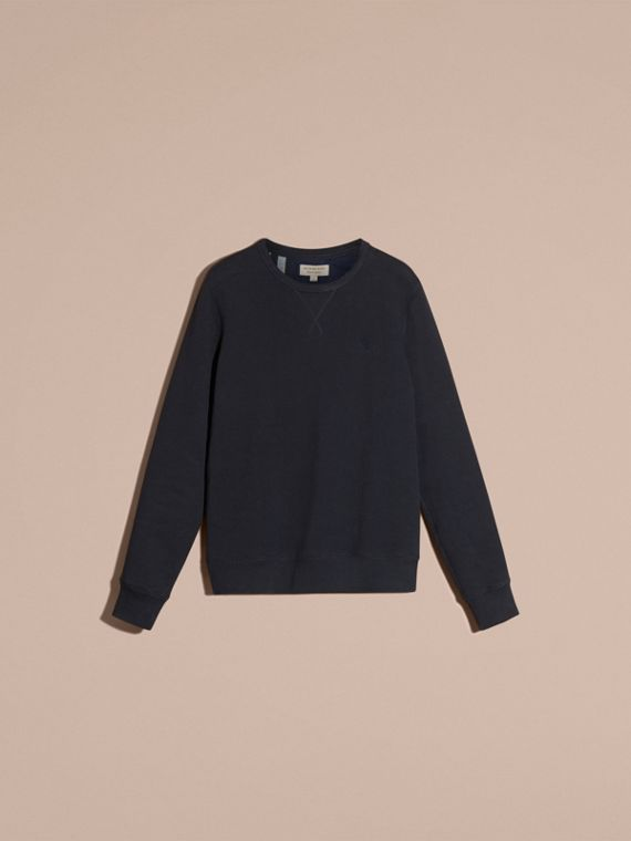 Navy Cotton Blend Jersey Sweatshirt Navy - cell image 3