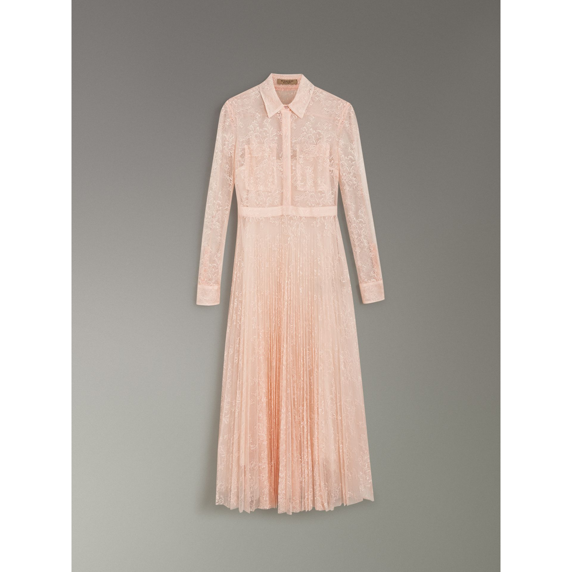 Pleated Lace Dress in Powder Pink - Women | Burberry - gallery image 3