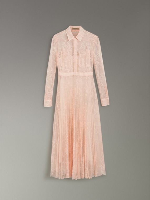 Pleated Lace Dress in Powder Pink - Women | Burberry Australia - cell image 3