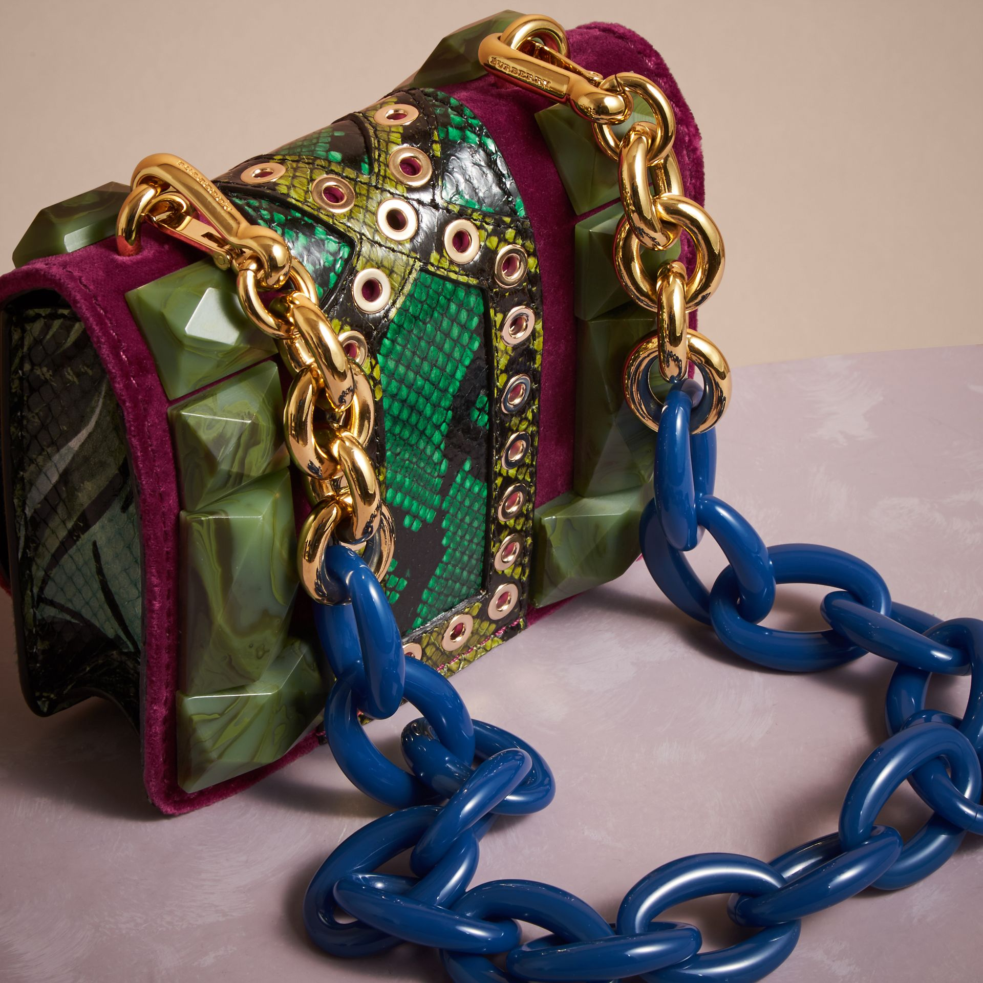 Damson The Mini Square Buckle Bag in Calfskin, Snakeskin and Velvet - gallery image 4