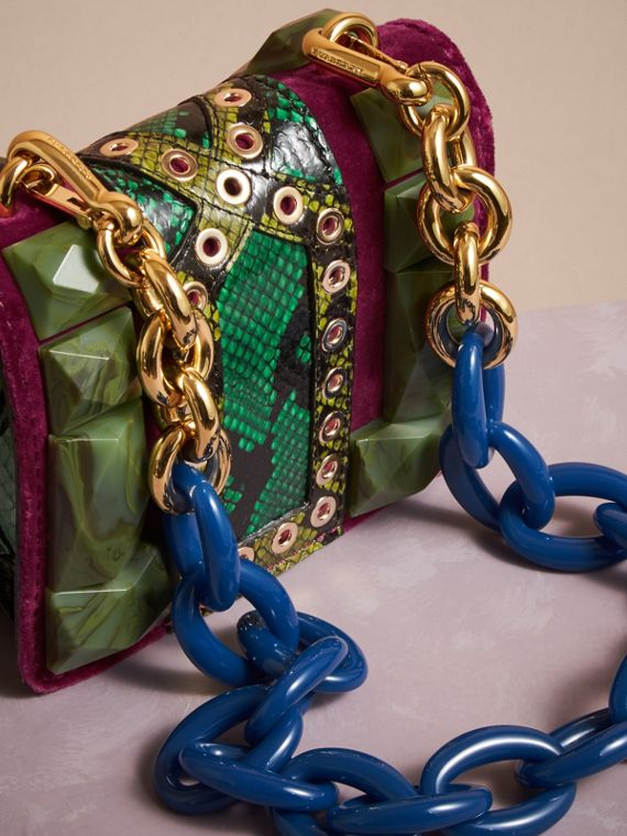 Damson The Mini Square Buckle Bag in Calfskin, Snakeskin and Velvet - cell image 3