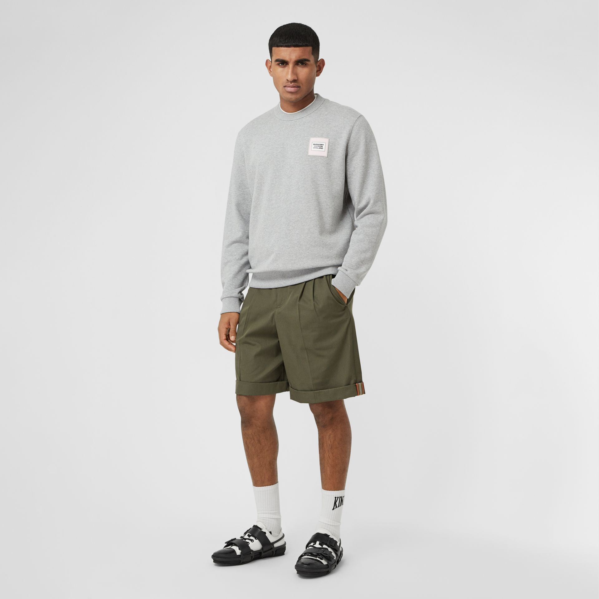 Icon Stripe Detail Cotton Twill Tailored Shorts in Olive - Men | Burberry - gallery image 0