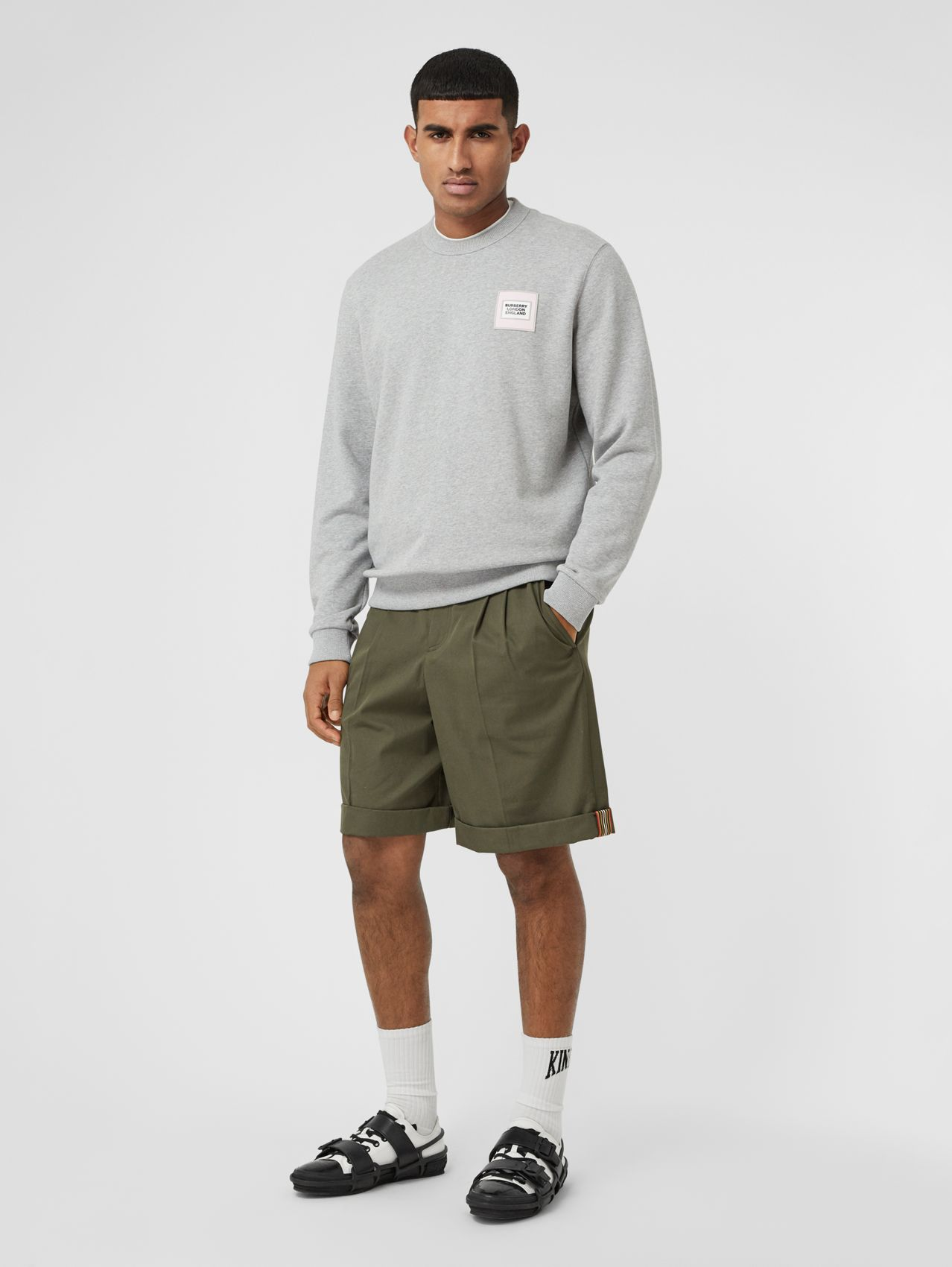 Icon Stripe Detail Cotton Twill Tailored Shorts in Olive