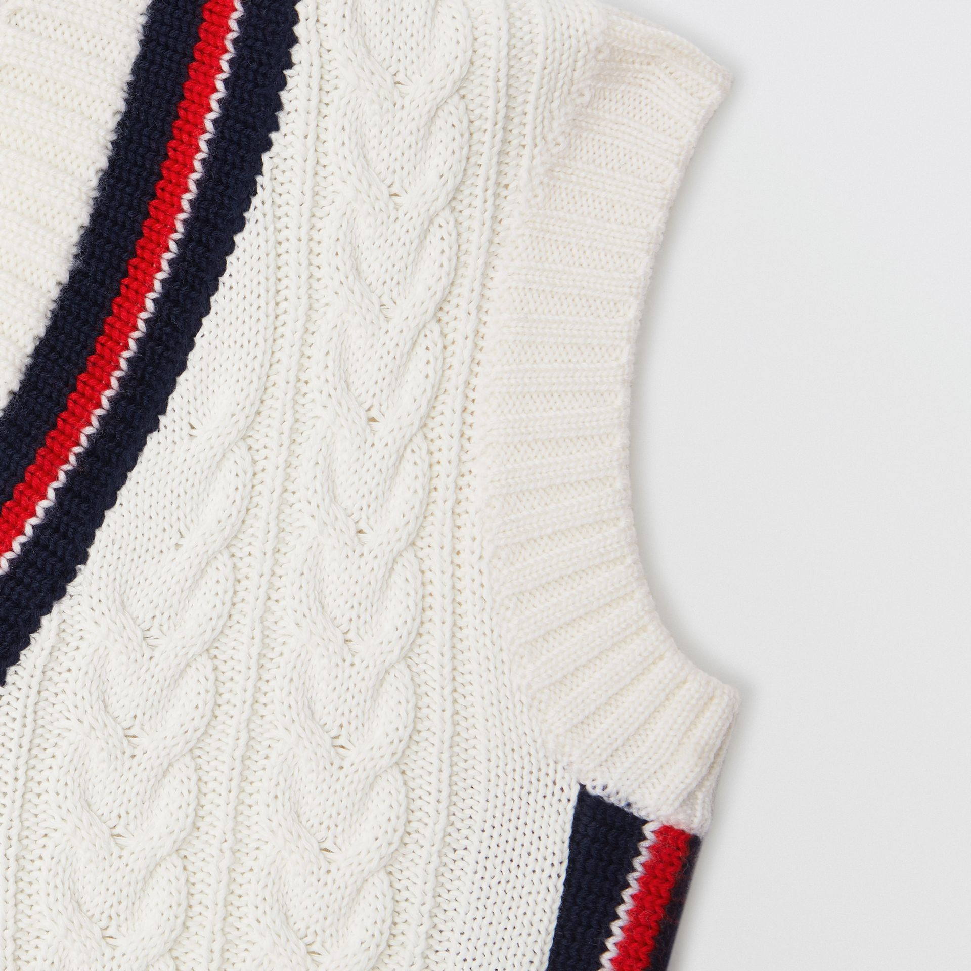 Stripe Detail Cotton and Merino Wool Vest in White | Burberry - gallery image 4