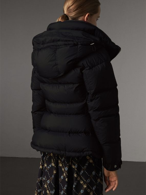 Detachable Hood Down-filled Peplum Jacket in Black - Women | Burberry - cell image 2