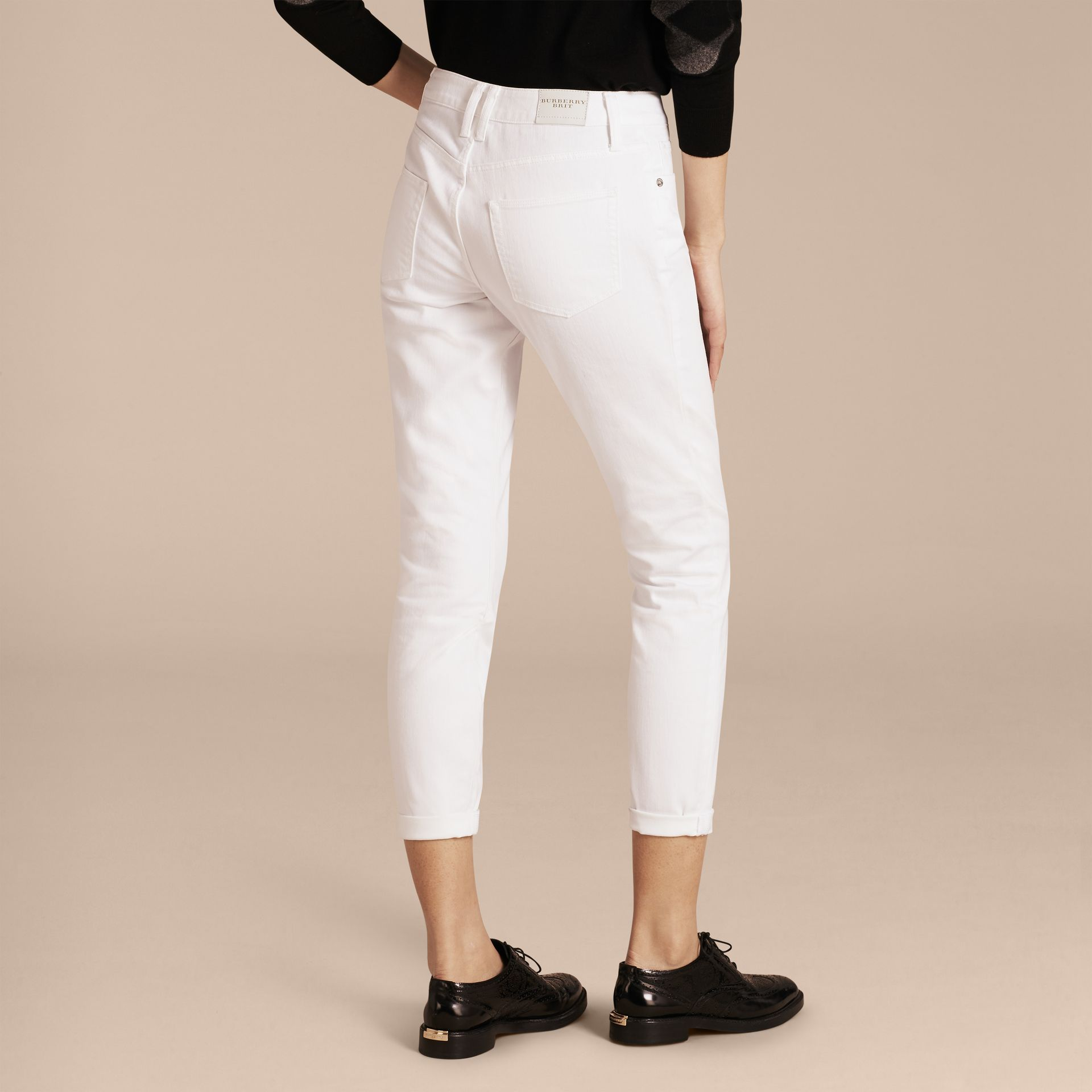 White Relaxed Fit Japanese Comfort Stretch Jeans - gallery image 3