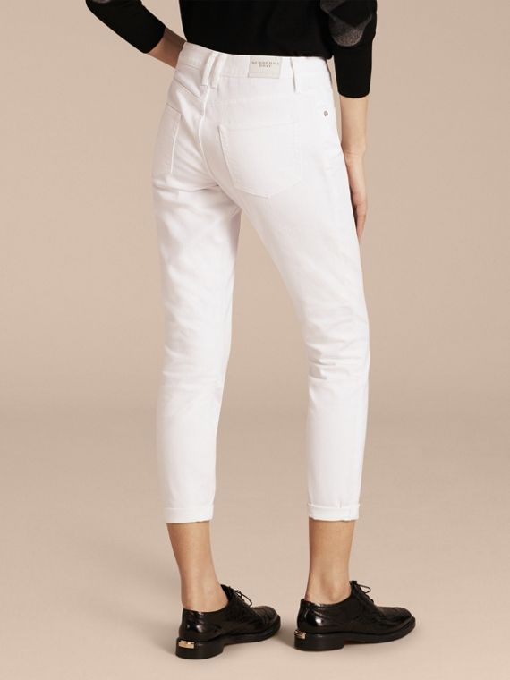 White Relaxed Fit Japanese Comfort Stretch Jeans - cell image 2