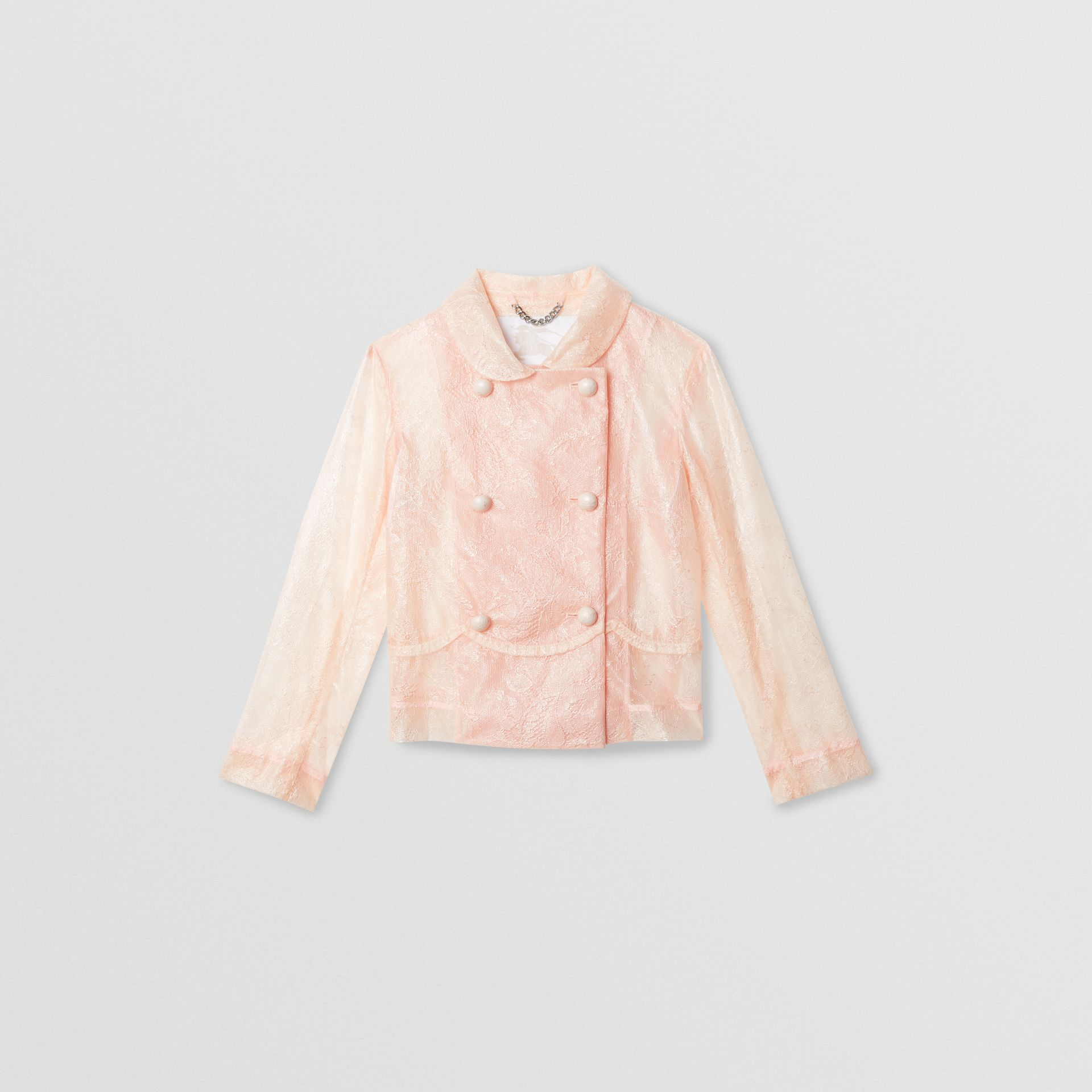 Laminated Lace Jacket in Pale Pink | Burberry - gallery image 0