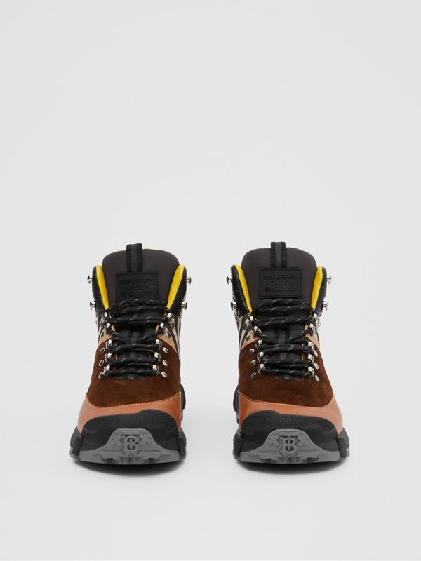 Leather, Vintage Check Cotton and Suede Tor Boots in Tan Mix - Men | Burberry - cell image 3
