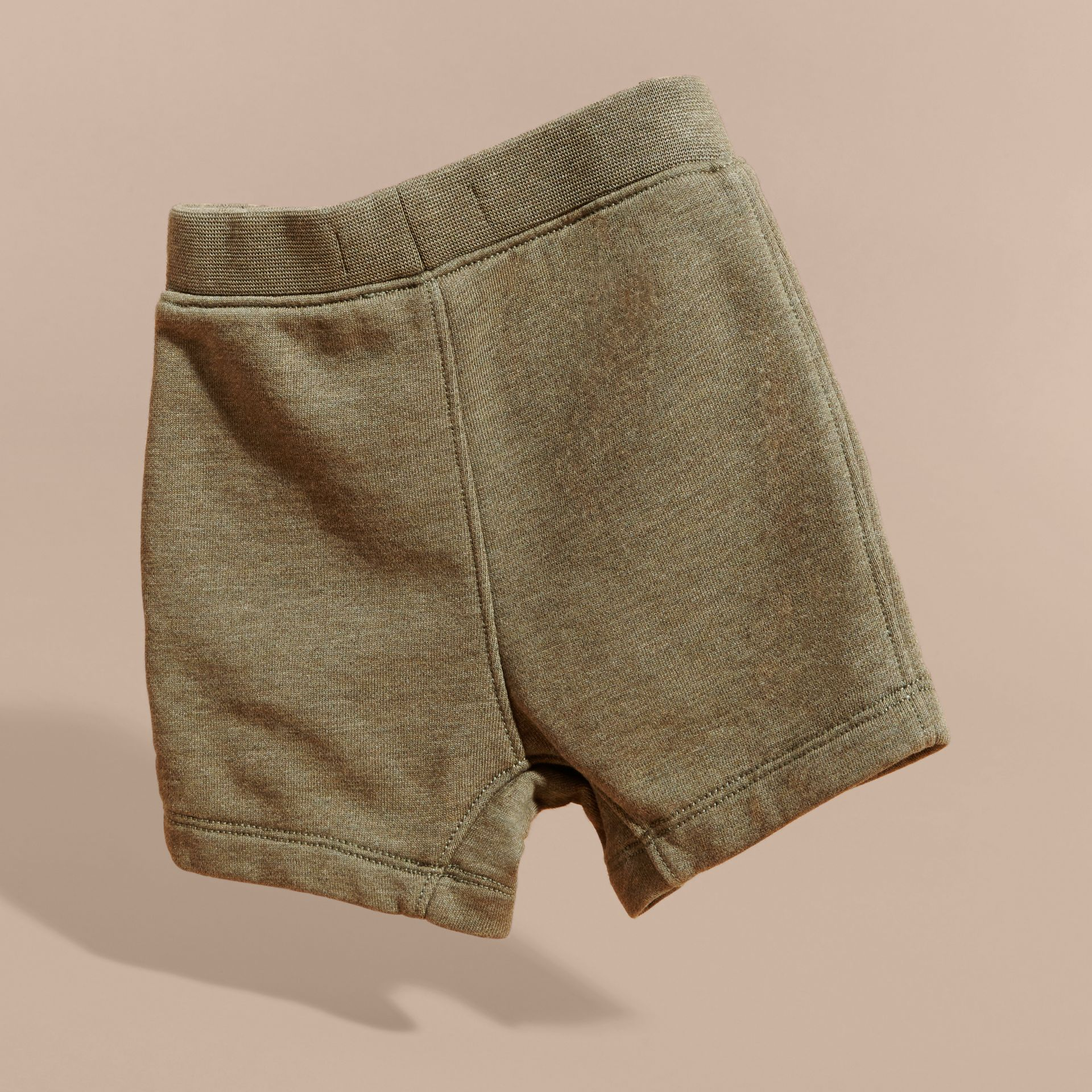 Cotton Jersey Drawcord Shorts in Khaki Green Melange | Burberry - gallery image 4