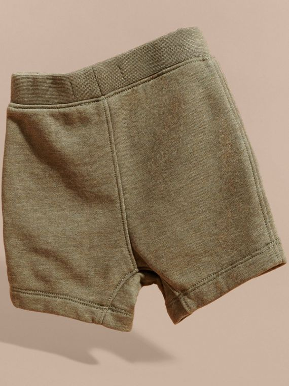 Cotton Jersey Drawcord Shorts in Khaki Green Melange | Burberry - cell image 3