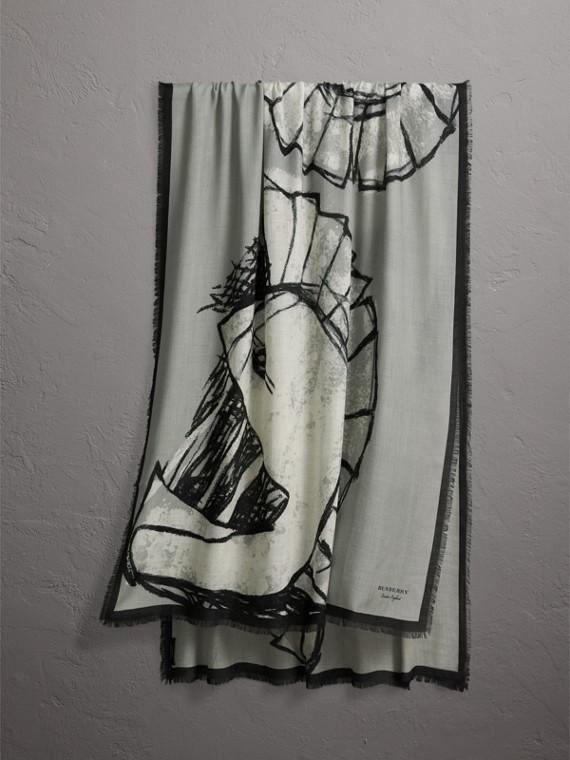 Écharpe en cachemire avec motif Pallas Helmet (Gris)