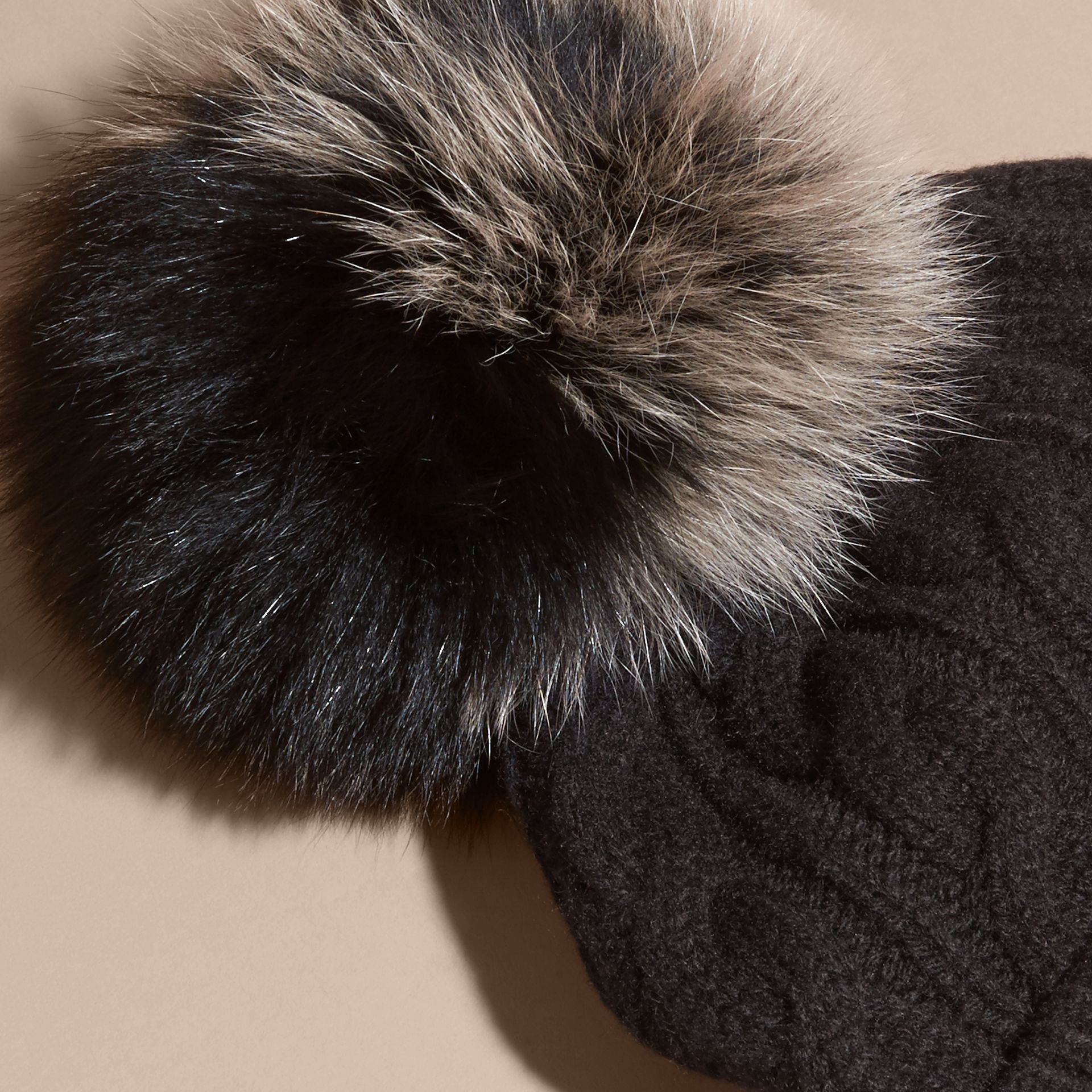 Black Wool Cashmere Beanie with Fur Pom-Pom Black - gallery image 3