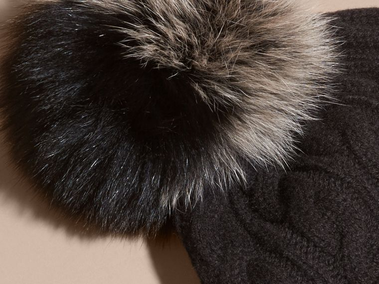 Black Wool Cashmere Beanie with Fur Pom-Pom Black - cell image 2