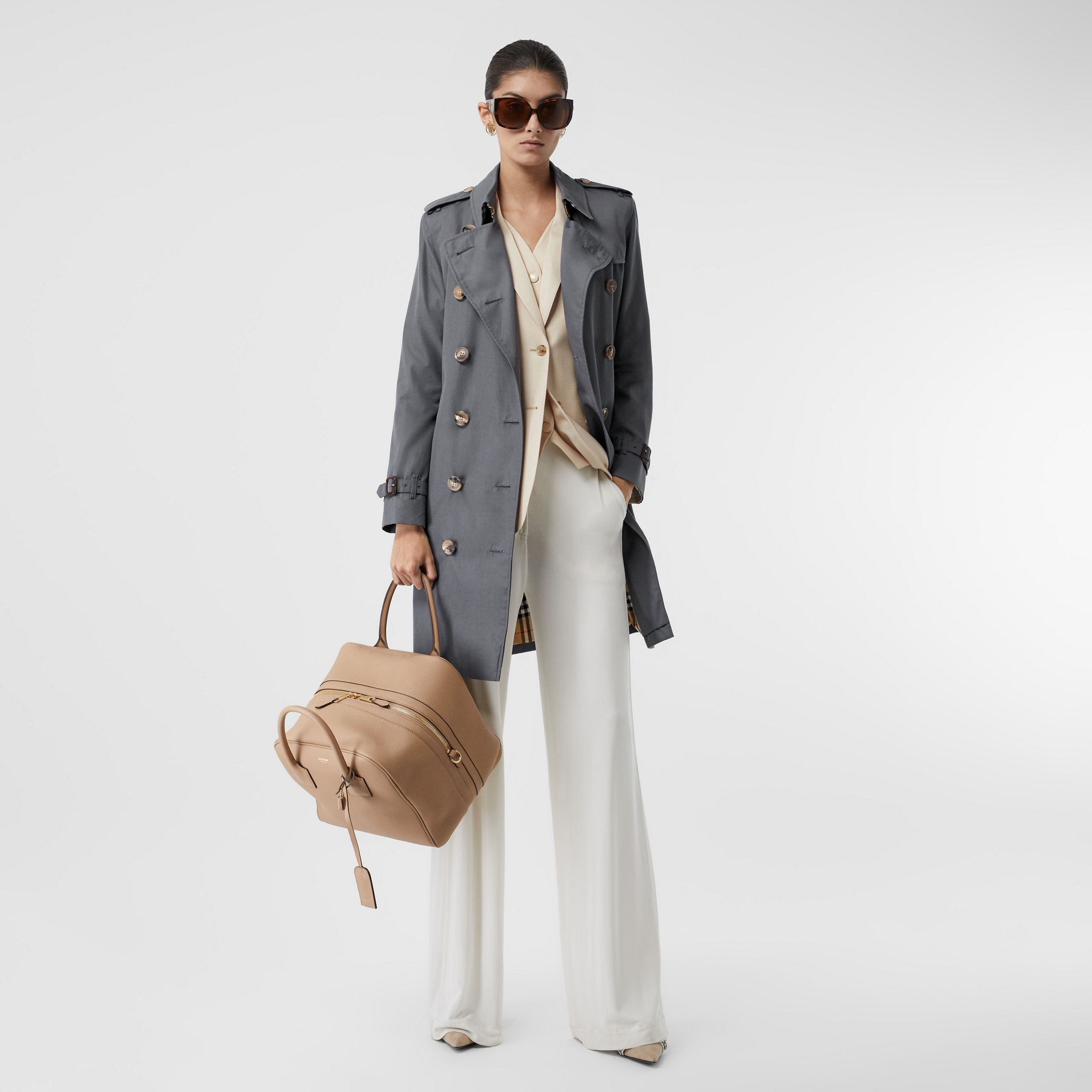 The Mid-length Kensington Heritage Trench Coat in Grey - Women | Burberry - 1