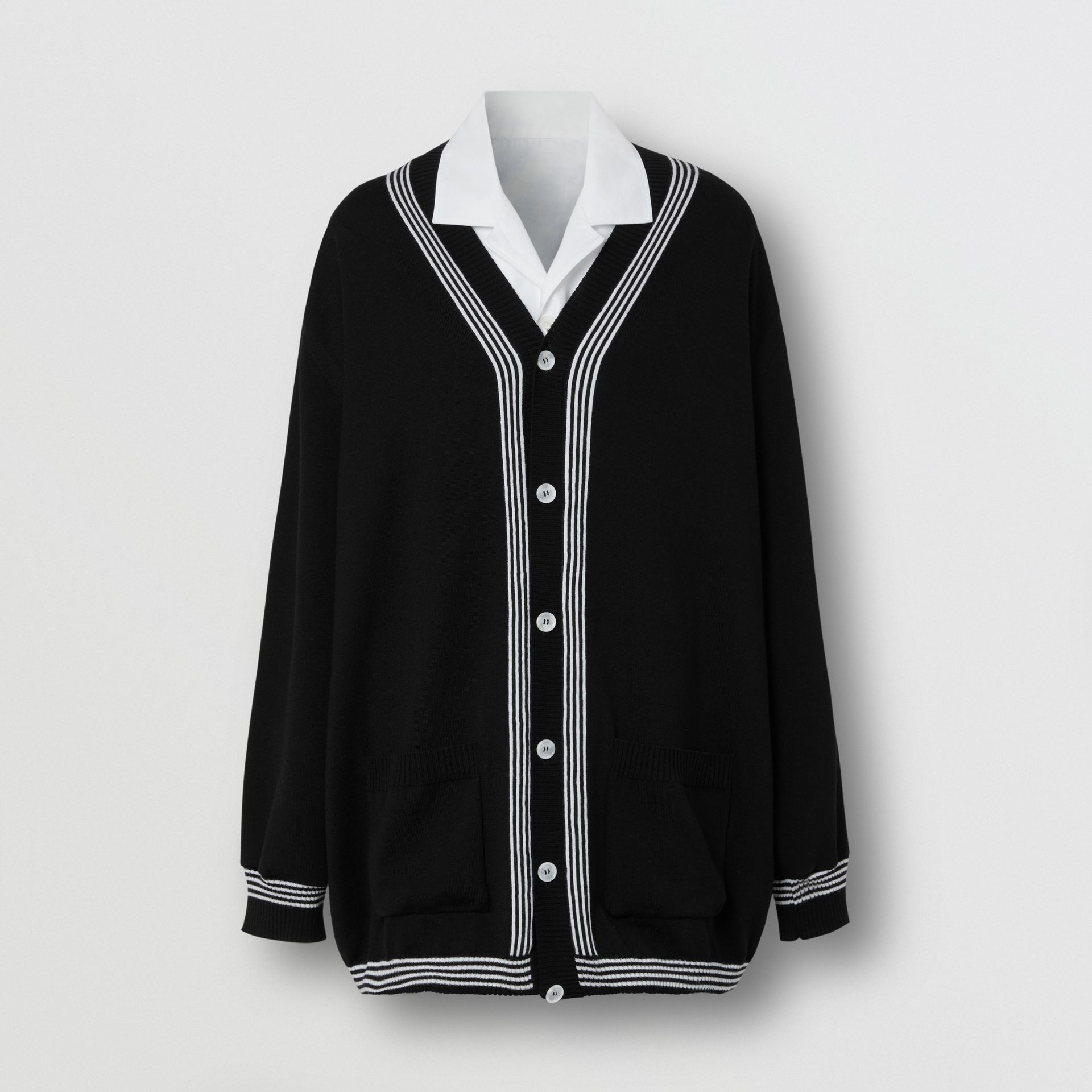 Wool Cardigan Detail Cotton Shirt in Black - Women | Burberry - gallery image 3