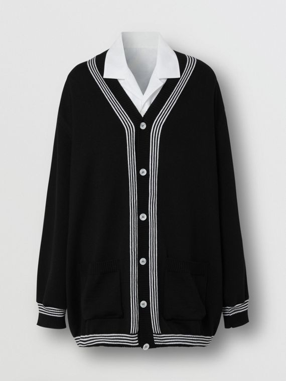 Wool Cardigan Detail Cotton Shirt in Black