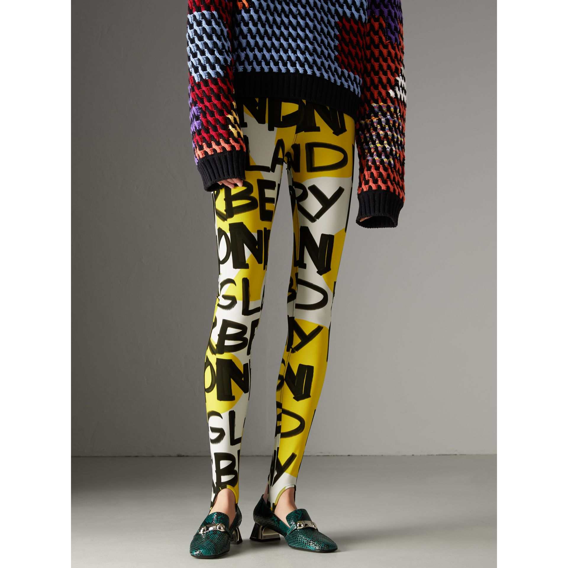 Graffiti Print Leggings in Bright Yellow - Women | Burberry - gallery image 4