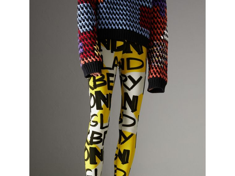 Graffiti Print Leggings in Bright Yellow - Women | Burberry - cell image 4