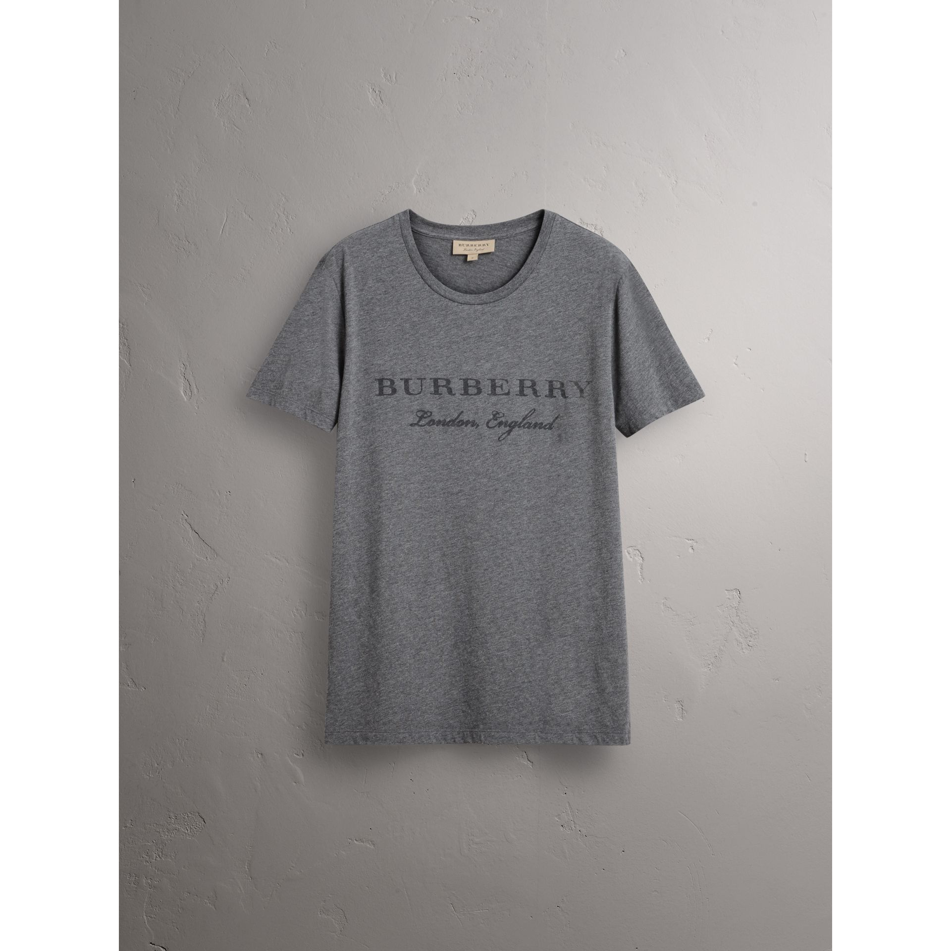 Devoré Cotton Jersey T-shirt in Mid Grey Melange - Men | Burberry - gallery image 4