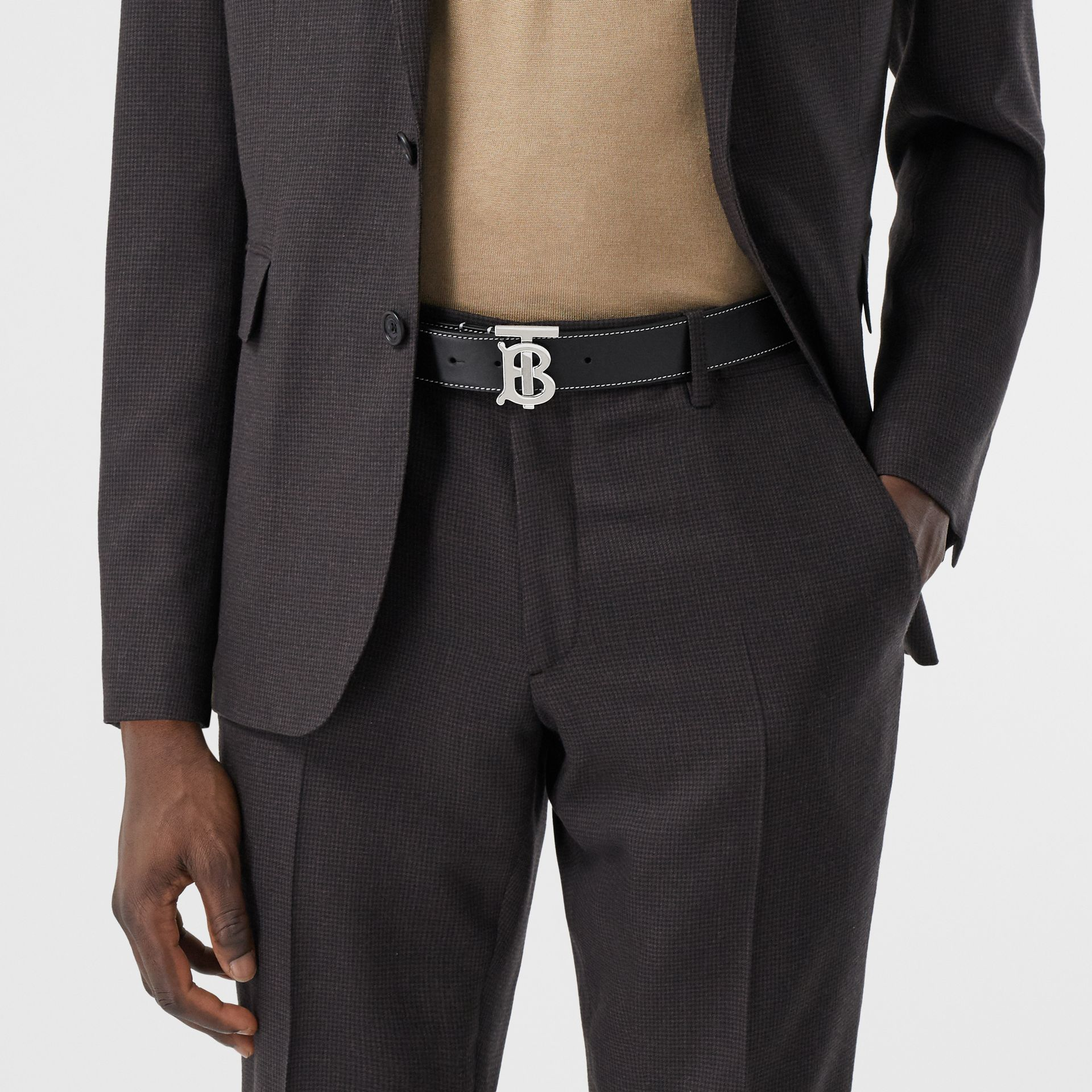 Monogram Motif Topstitched Leather Belt in Black - Men | Burberry - gallery image 2
