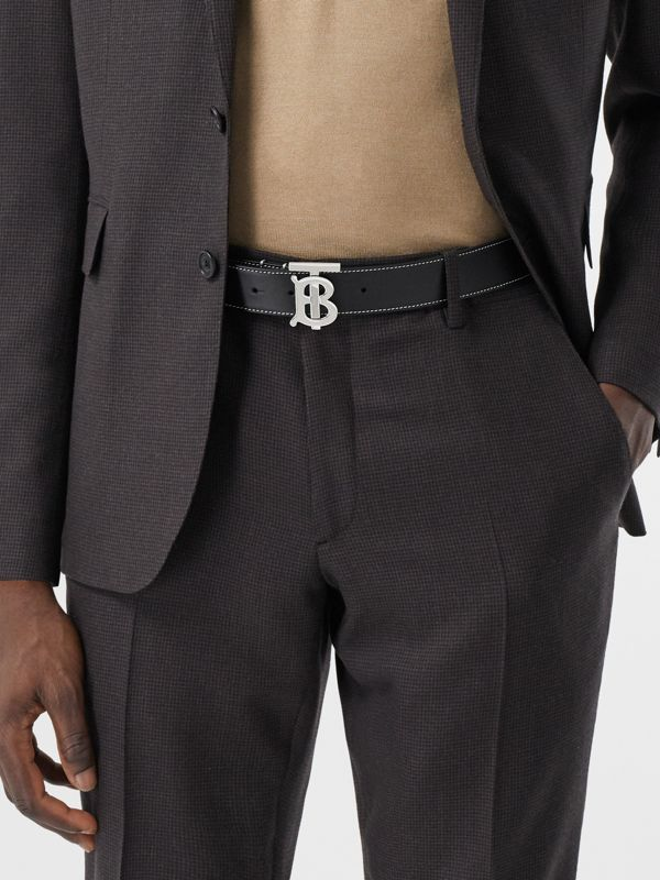 Monogram Motif Topstitched Leather Belt in Black - Men | Burberry - cell image 2