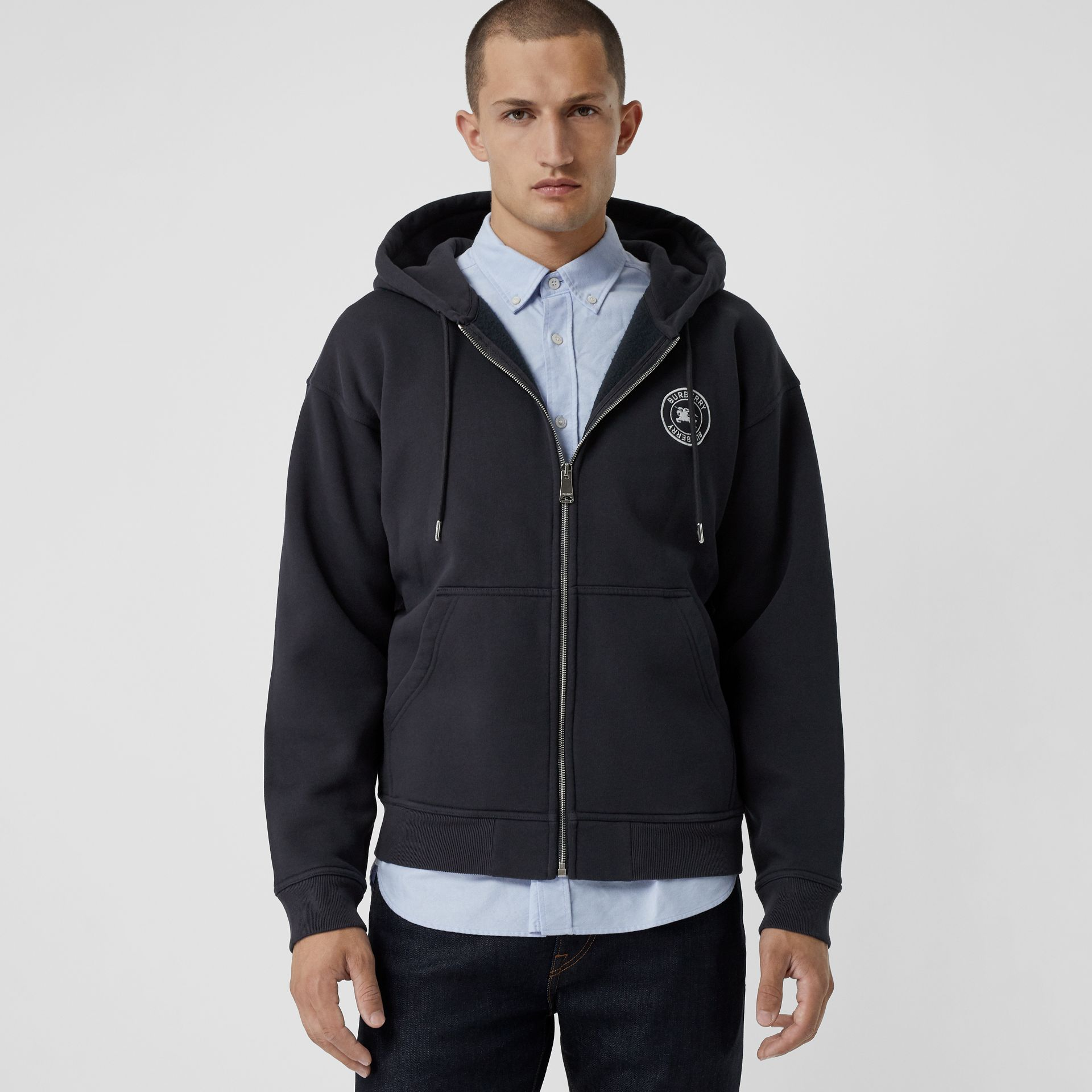 Embroidered Logo Jersey Hooded Top in Navy - Men | Burberry - gallery image 0