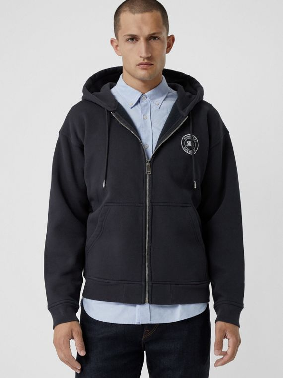 Embroidered Logo Jersey Hooded Top in Navy