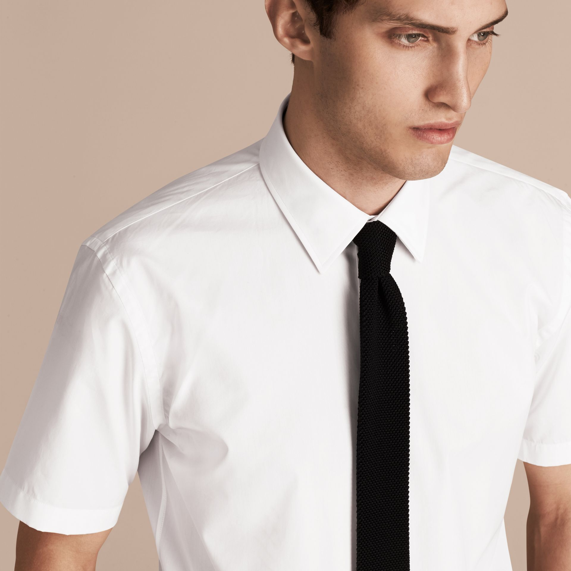 Modern Fit Short-sleeved Cotton Poplin Shirt - Men | Burberry - gallery image 5