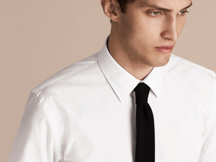 Modern Fit Short-sleeved Cotton Poplin Shirt - Men | Burberry - cell image 4