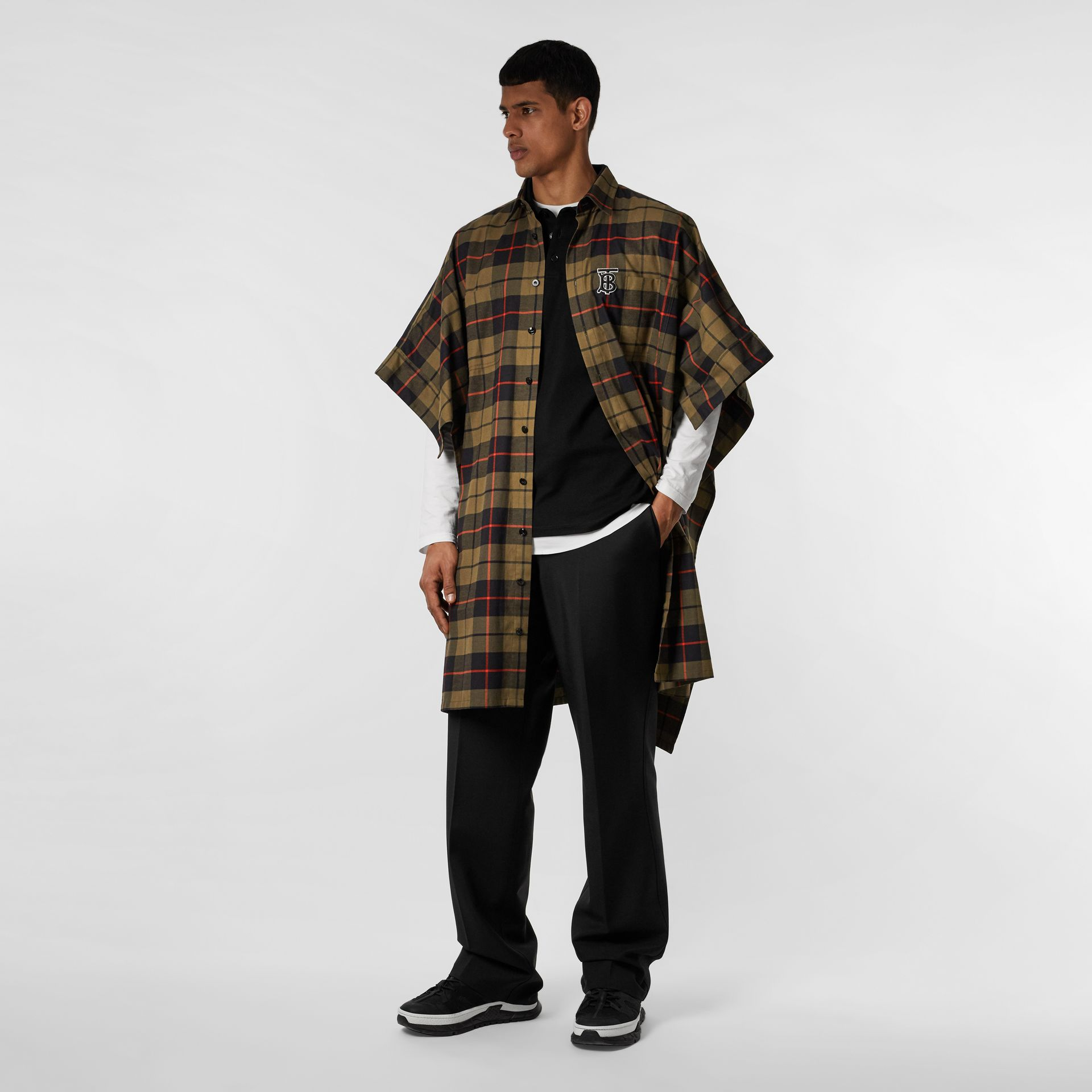 Monogram Motif Check Cotton Oversized Poncho in Military Olive | Burberry - gallery image 2