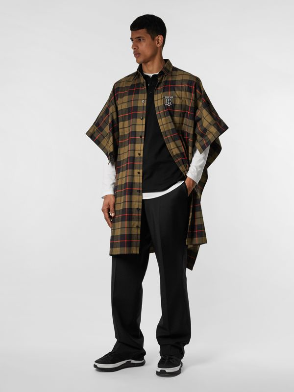 Monogram Motif Check Cotton Oversized Poncho in Military Olive | Burberry - cell image 2