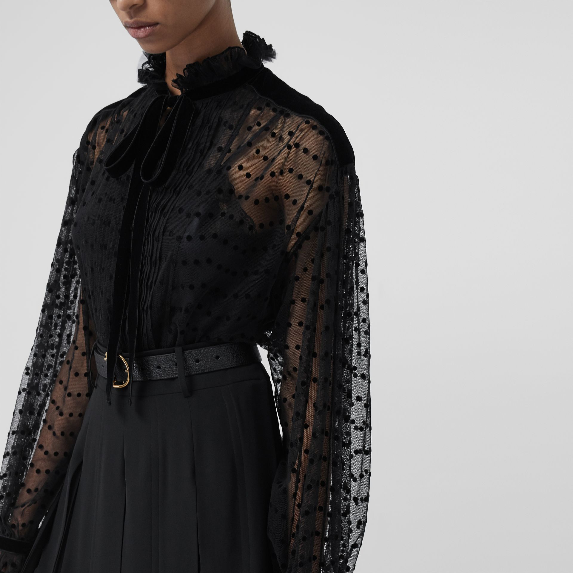 Polka-dot Flock Tulle Tie-neck Blouse in Black - Women | Burberry - gallery image 1