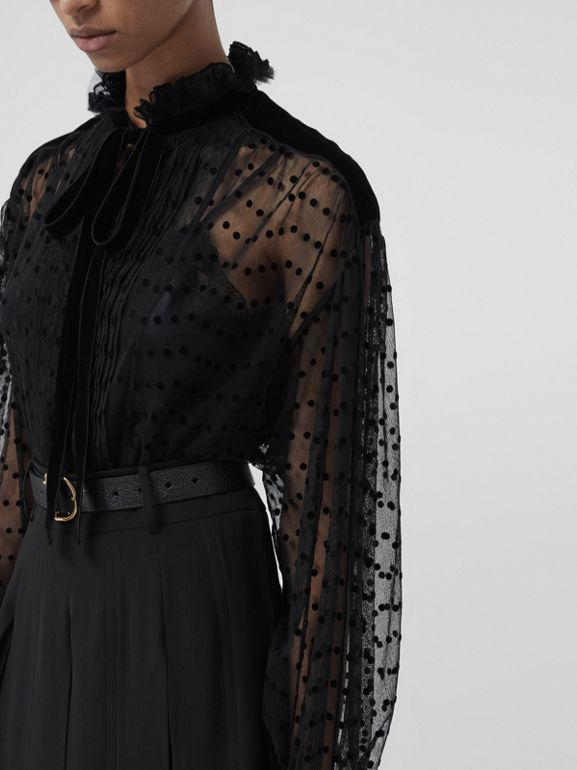 Polka-dot Flock Tulle Tie-neck Blouse in Black - Women | Burberry United Kingdom - cell image 1