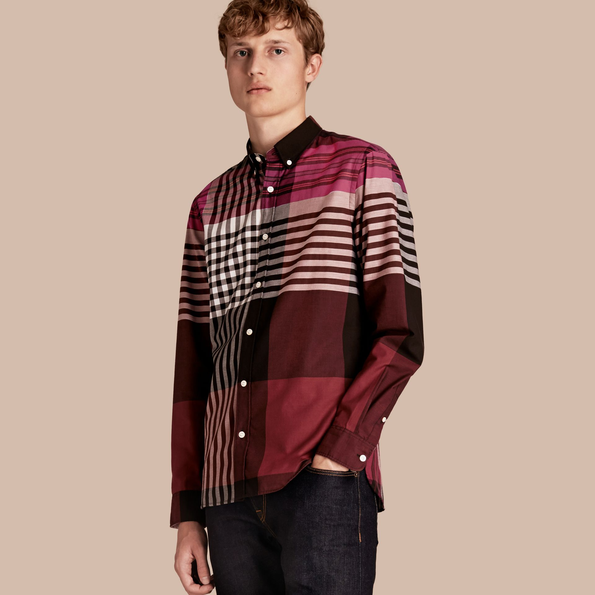 Graphic Tartan Cotton Shirt Deep Claret - gallery image 1