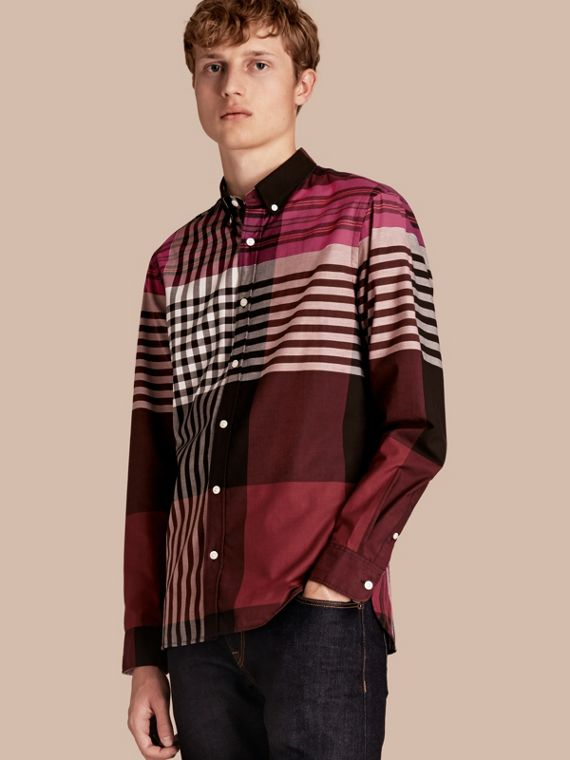 Graphic Tartan Cotton Shirt Deep Claret