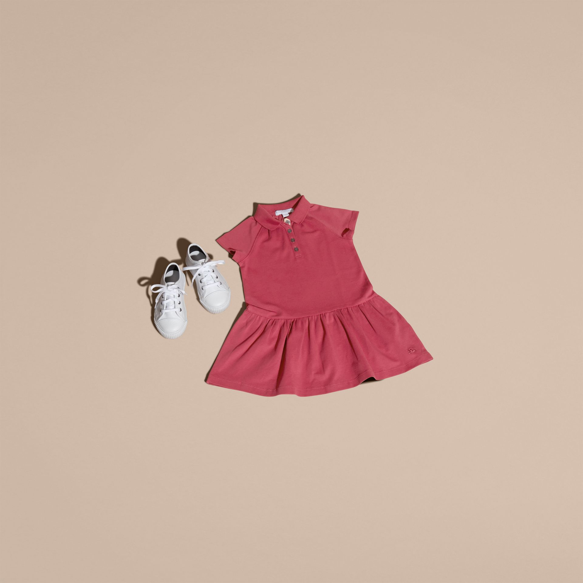 Peony rose Check Placket Cotton Blend T-Shirt Dress Peony Rose - gallery image 5