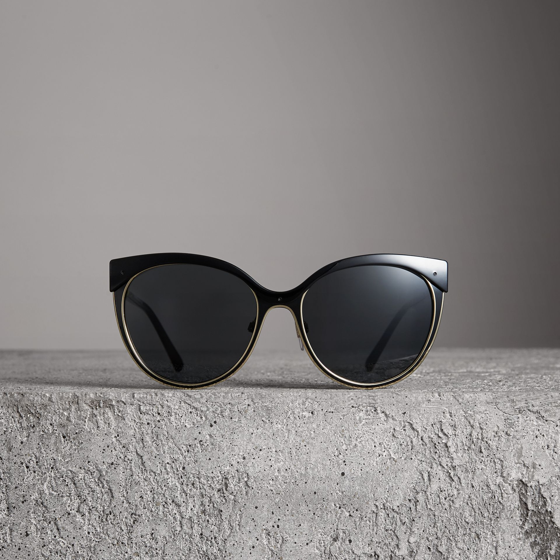 Cat-eye Frame Sunglasses in Black - Women | Burberry Canada - gallery image 3