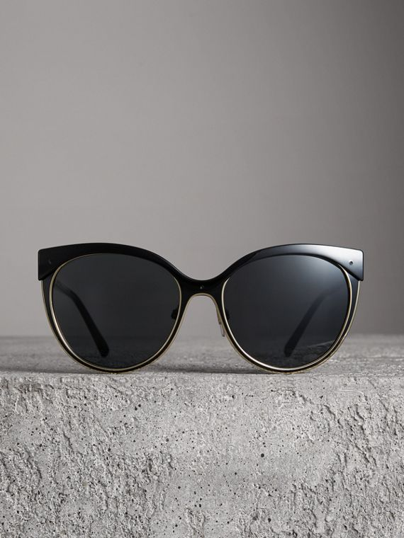 Cat-eye Frame Sunglasses in Black - Women | Burberry United States - cell image 3